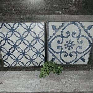 Set of 2 tile quilt motif framed art
